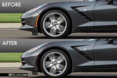 Corvette C7 Corner Marker Tint Before and After - Front Half