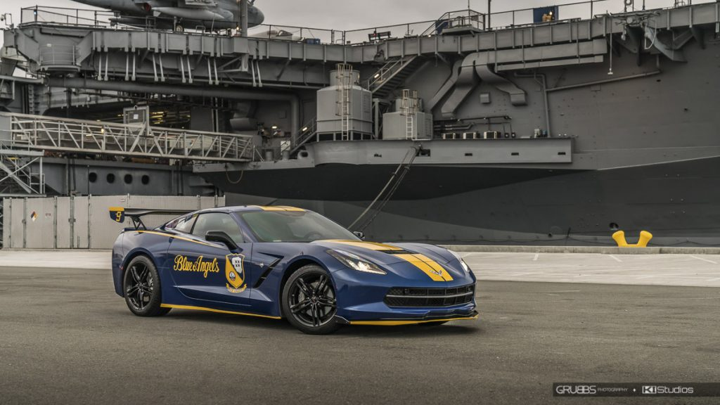 Blue Angels Corvette Stingray with KI Studios Corvette C7 stripes in yellow.