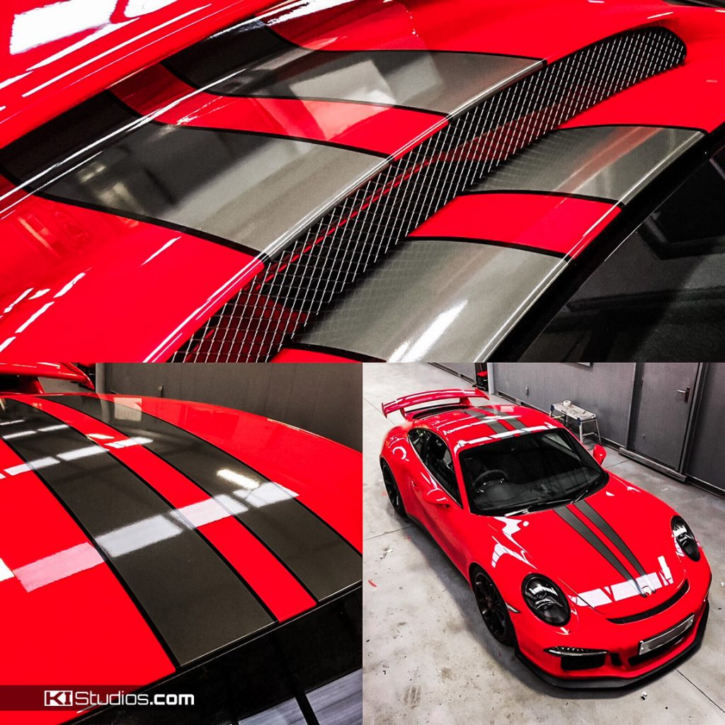 Porsche 991 GT3 Red with KI Studios Porsche Stripes
