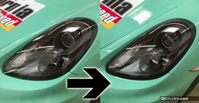 Porsche 981 Cayman Headlight Trim Comparison - KI Studios
