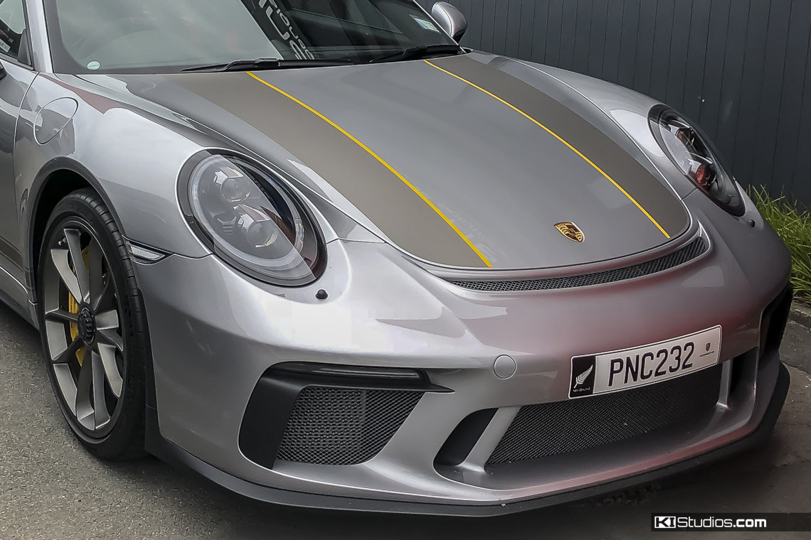 Matte Platinum Grey Porsche 911R Stripes
