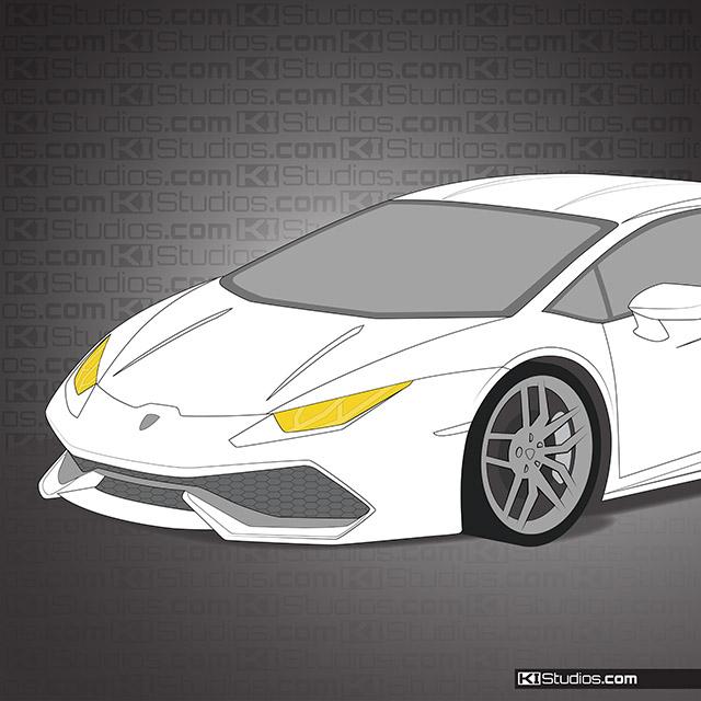 Lamborghini Huracan Headlight Film Tint And Protection Yellow