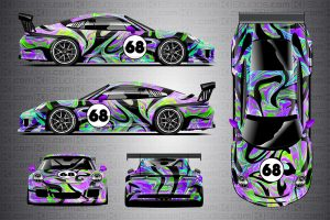 KI Studios Porsche 911 GT3 Cup Livery Wrap - Groovy - Full Toxic Purple Colorway