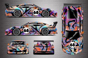 KI Studios Porsche 911 GT3 Cup Livery Wrap - Groovy - Full Colorway