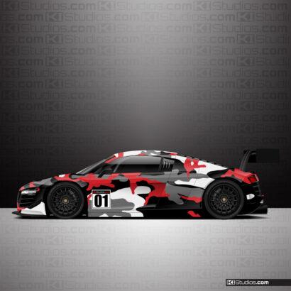 Audi R8 Camo Wrap Red - KI Studios
