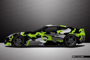 Corvette C7 KI Studios Covert Camo Wrap Lime Green