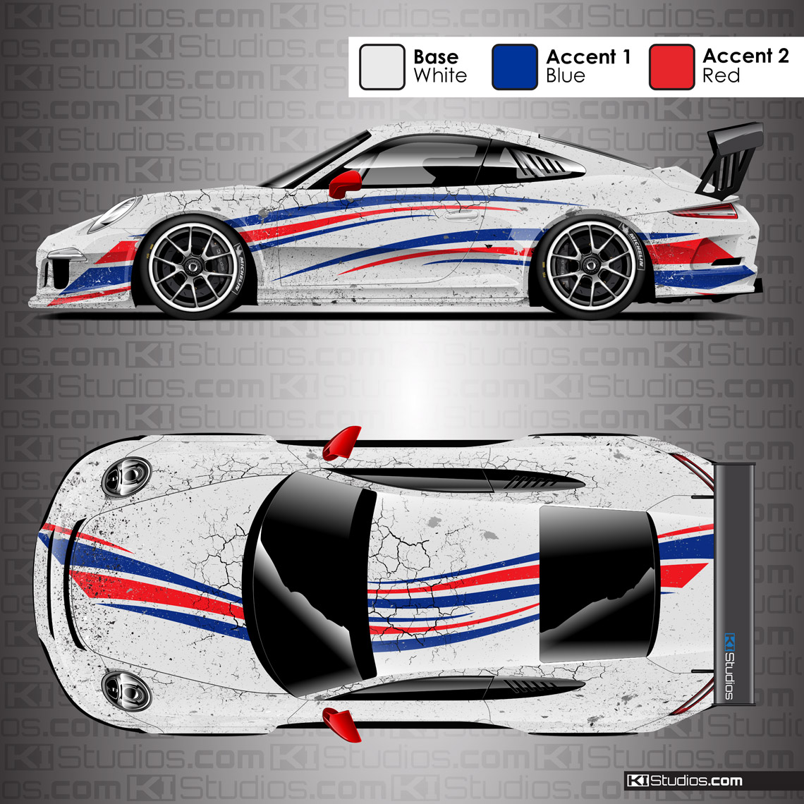 Porsche Racing Livery Distressed Wrap Arid Ki Studios