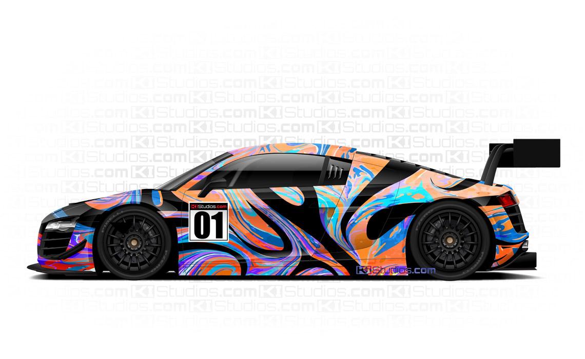 Audi R8 Retro Racing Livery Car Wrap - Groovy by KI Studios