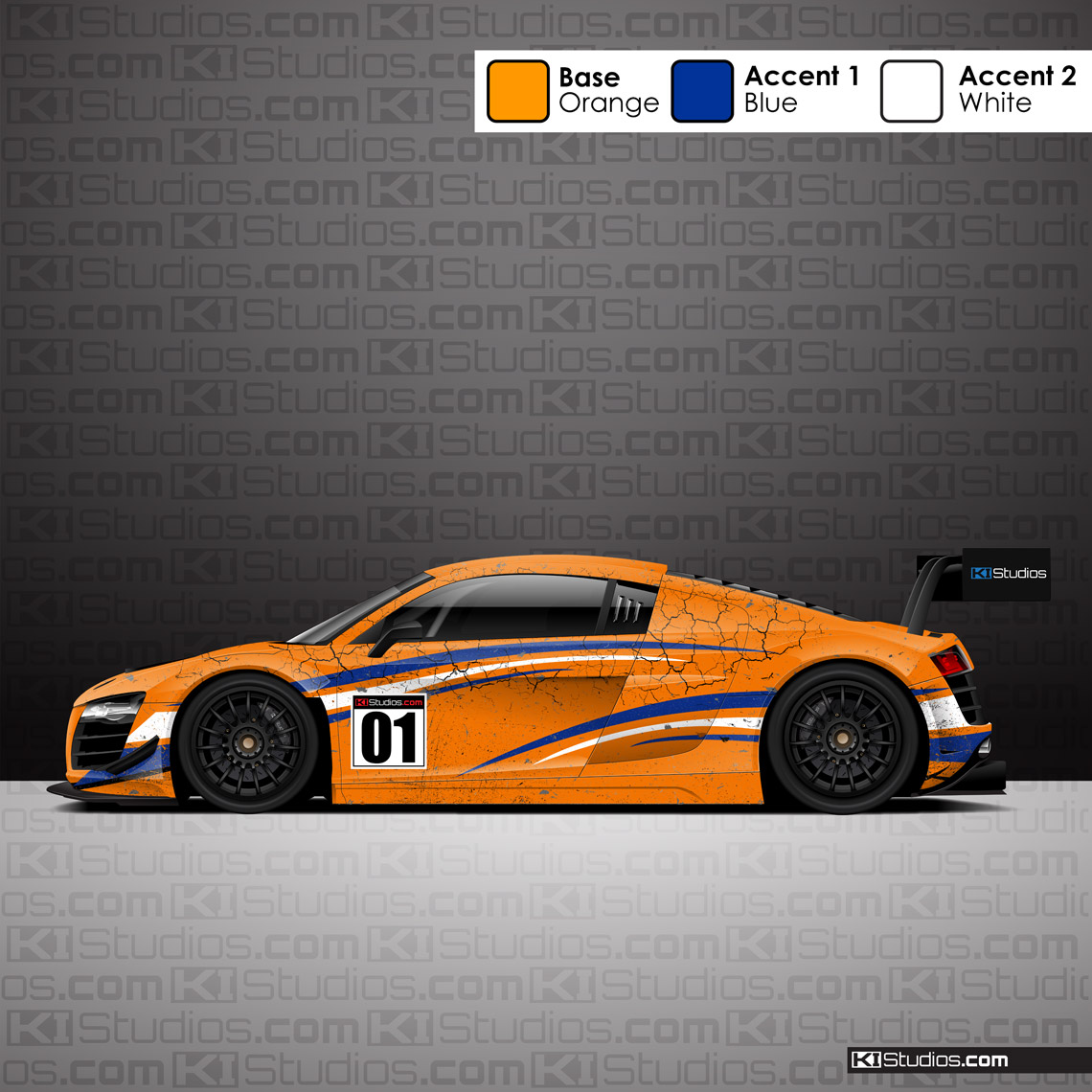 Racing Livery Distressed Performance Car Wrap - Arid