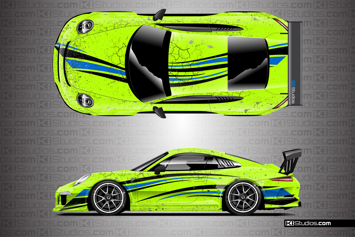 Porsche Arid Distressed Livery Lime Green with Blue and Black Accents
