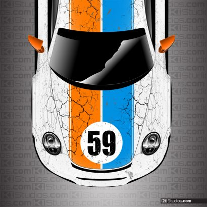 Porsche 911 Cup Car Brumos Porsche Style Wrap With Hood Number by KI Studios