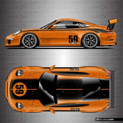 Porsche 991 GT3 Cup Car Brumos Porsche Style Distressed Livery by KI Studios - Orange, Black, Black