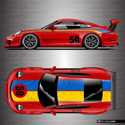 Porsche 991 GT3 Cup Car Brumos Distressed Livery by KI Studios - Red, Blue, Yellow