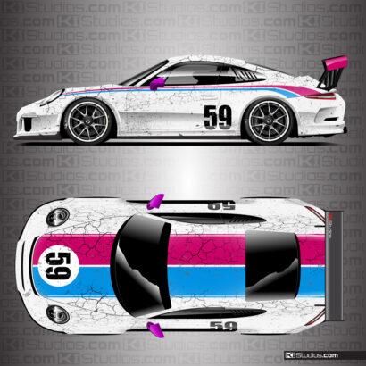 Porsche 991 GT3 Cup Car Livery by KI Studios - White, Pink, Blue
