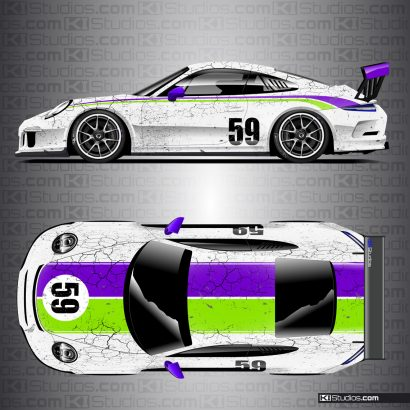 Porsche 991 GT3 Cup Car Livery by KI Studios - White, Purple, Lime Green