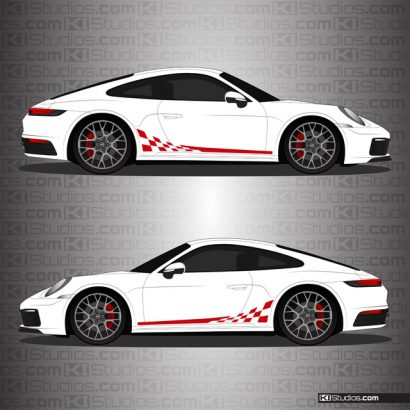 Porsche 992 Carrera Side Stripes - Checkers