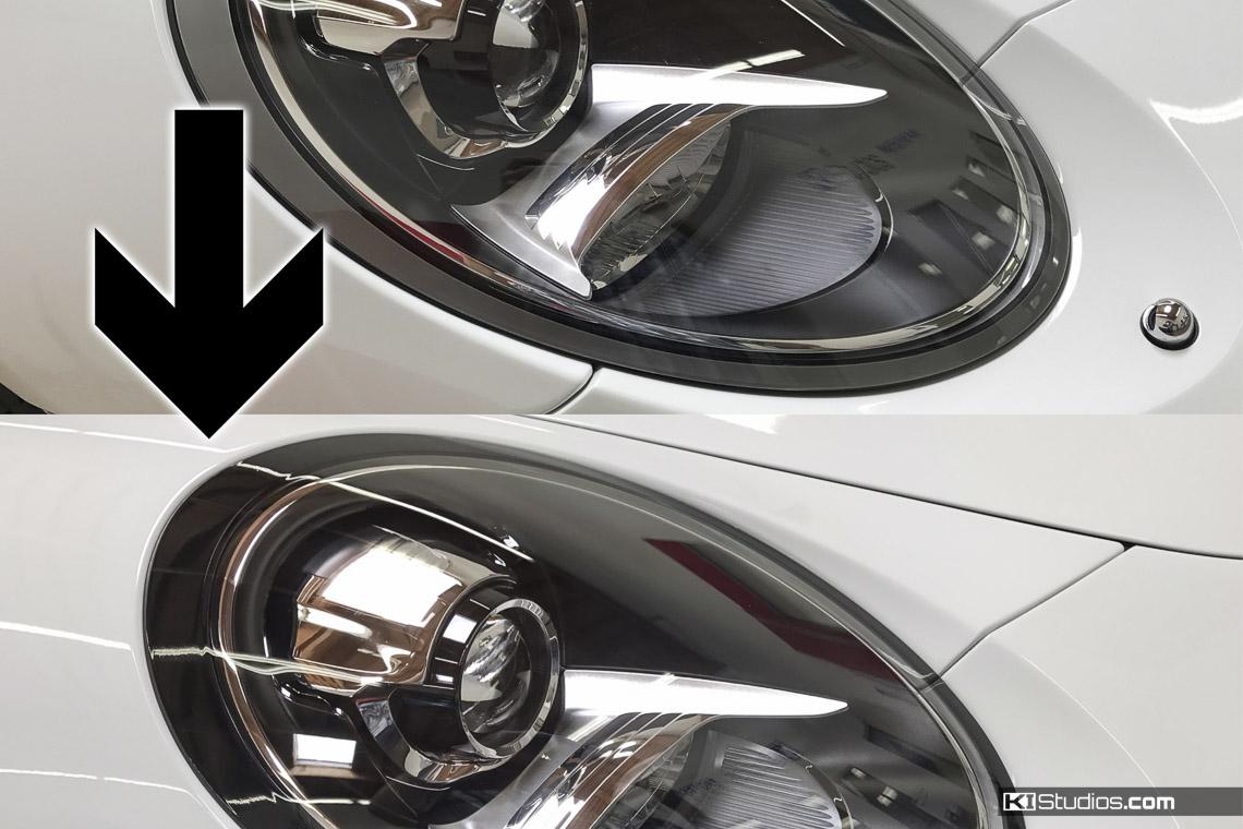 Porsche Headlight Trim Before and After