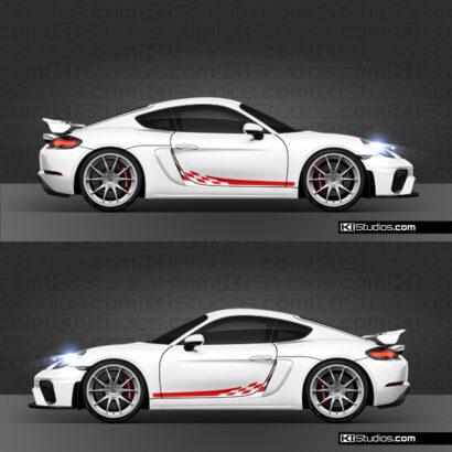 Porsche 718 GT4 checker side decals