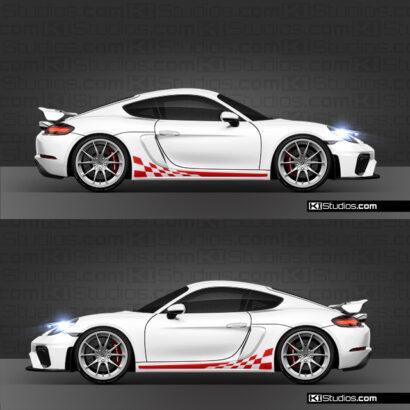 Porsche 718 GT4 Checker Stripe Decals